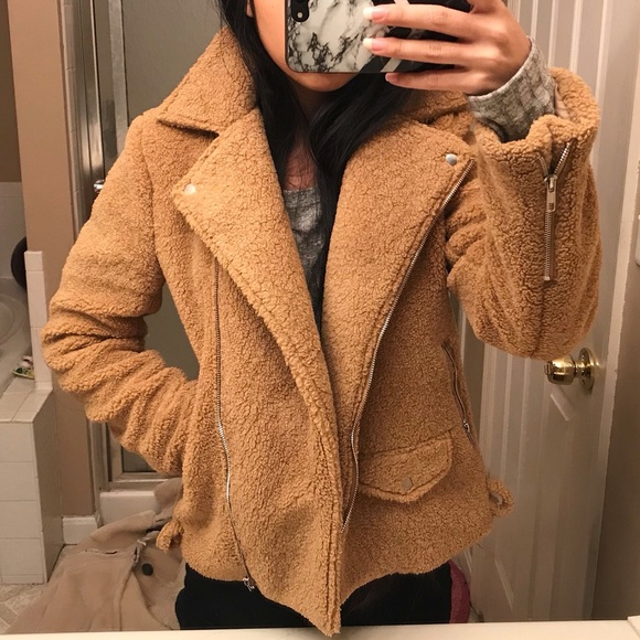outlet for sale detailed look amazing quality Missguided moto style teddy bear coat